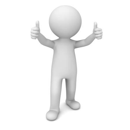 3d homme montrant thumbs up sur fond blanc Banque d'images