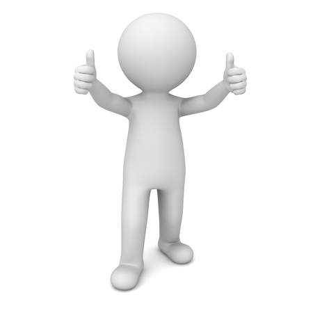 3d man showing thumbs up over white background Stock Photo - 20189275