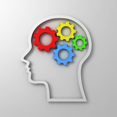 Brain gears in head shape on white background , intelligence concept photo