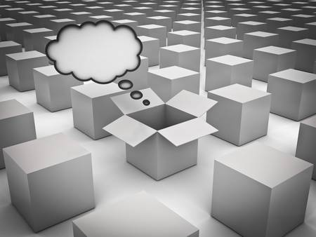 Stand out from the crowd , Individuality , Different and Think outside the box concepts , Opened box with thought bubble amongst the closed white boxes Stock Photo - 20190087