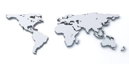 3d carte du monde sur fond blanc avec la réflexion