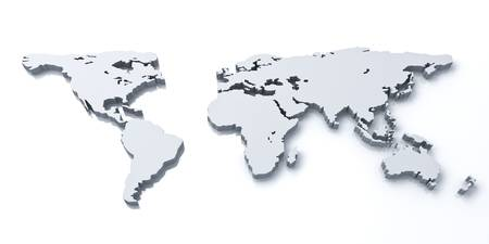 south east: 3d world map over white background with reflection