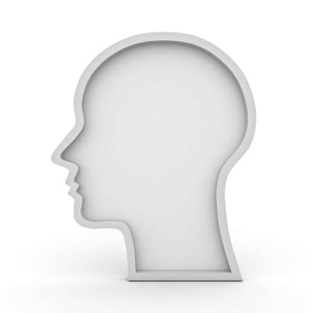 Blank head shape over white background photo