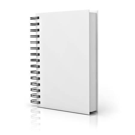 反射で白い背景上の空白のノートブック カバー 写真素材