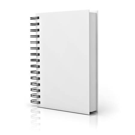 Blank notebook cover over white background with reflection