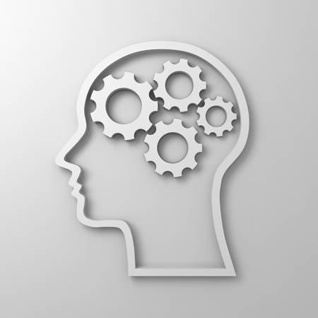 Brain gears in human head shape on white background photo