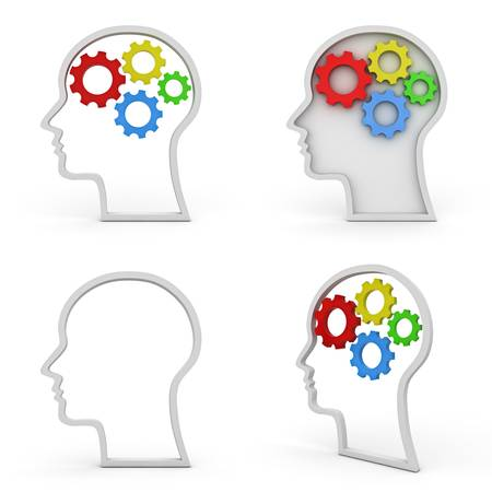 Collection of head shapes with gears brain over white background , intelligence concept photo