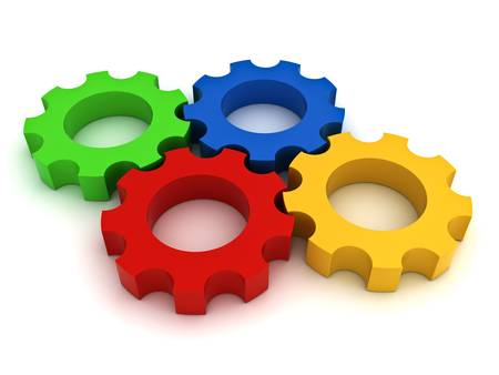 Colorful Gears on white background photo