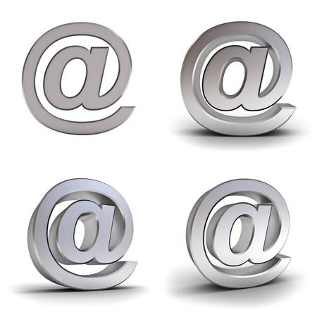 Set of metal email signs over white background with reflection photo