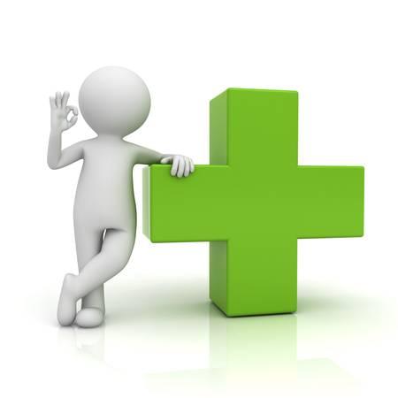 Hombre 3d que muestra gesto bien con signo m�s verde aislado sobre fondo blanco con la reflexi�n photo