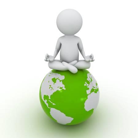 3d man doing meditation on green globe over white background photo