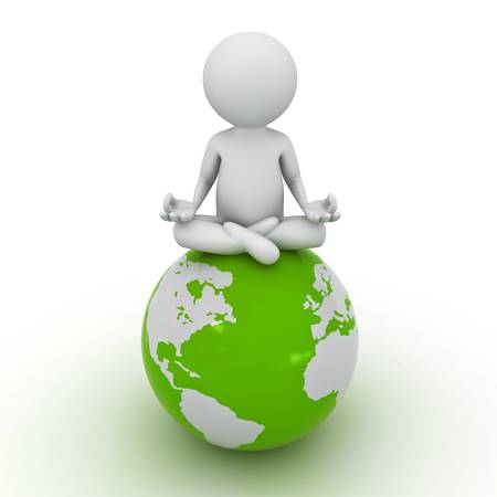 focusing: 3d man doing meditation on green globe over white background Stock Photo