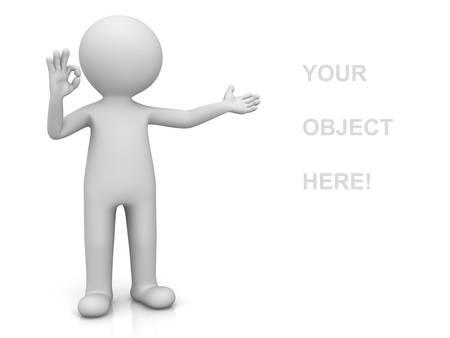 Uomo 3D che presenta il prodotto e mostrando ok gesto isolato su sfondo bianco con la riflessione