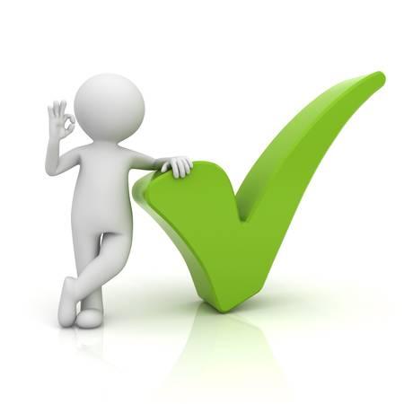 Hombre 3d que muestra gesto bien con la marca de verificación verde aislado sobre fondo blanco con la reflexión