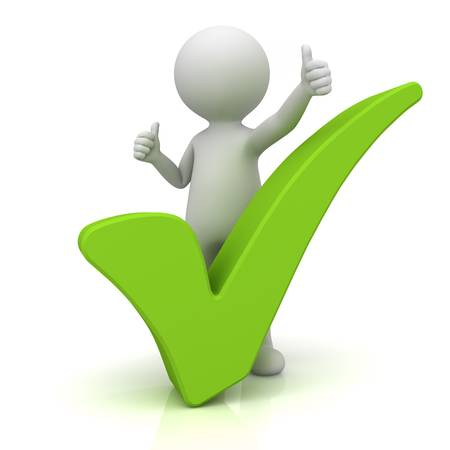 right choice: 3d man showing thumbs up with green check mark over white background Stock Photo