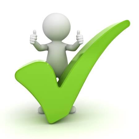 3d mężczyzna pokazując kciuk do góry z zielony znacznik wyboru na białym tle