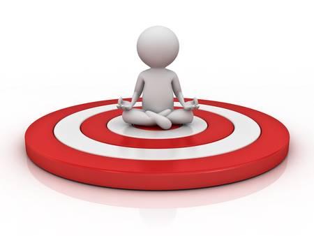 3D man doet meditatie op rood doel geïsoleerd via witte achtergrond met reflectie, Focus en concentratie concept Stockfoto