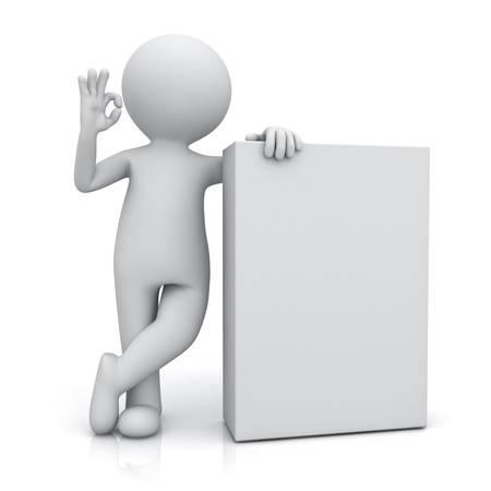 빈 상자와 함께 서 서 하 고 흰색 배경에 리플렉션 사용 하여 격리 괜 찮 제스처를 게재하는 3d 남자