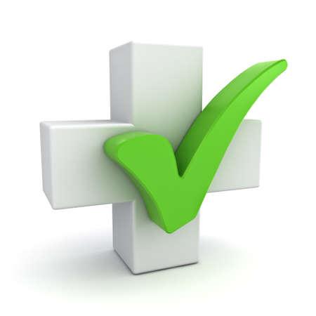 Wit plusteken met groen vinkje concept geïsoleerd op witte achtergrond Stockfoto