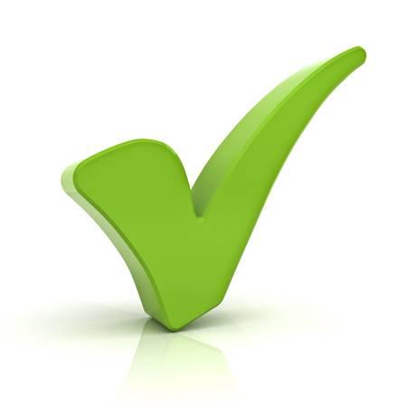 Groen vinkje geïsoleerd via witte achtergrond met reflectie Stockfoto