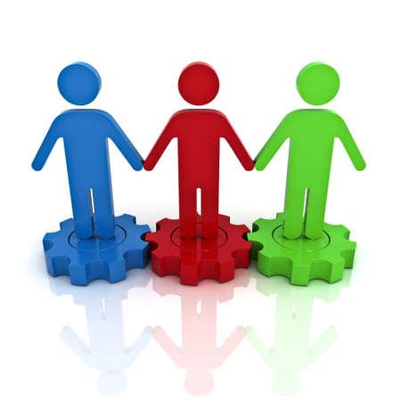 lien: Le travail en équipe sur les engrenages de la réflexion, le concept d'affaires sur fond blanc