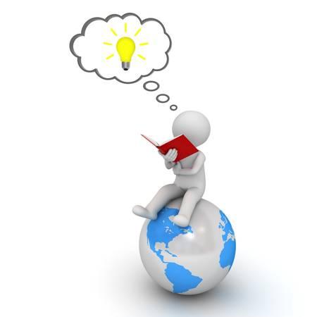 3D-man lezen van een boek op een blauwe wereldbol en denken met ideebol in gedachte bel over witte achtergrond