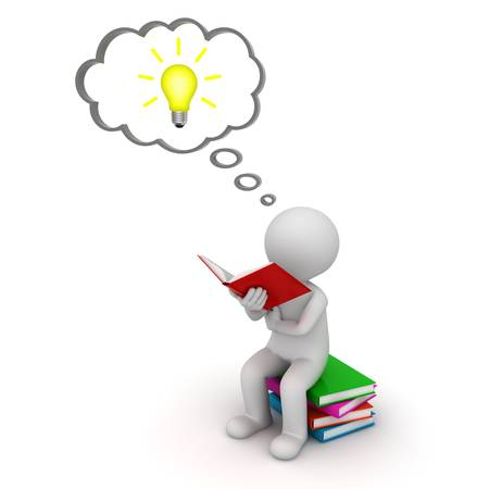 3d man sitting and reading a book with idea bulb in thought bubble isolated over white background 版權商用圖片