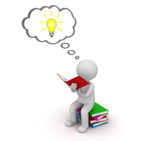 3d man zitten en lezen van een boek met de idee bol in gedachte bel geïsoleerd op witte achtergrond