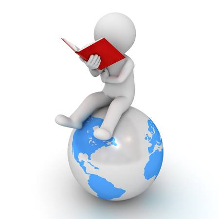 3d man sitting and reading a red book on blue globe over white background
