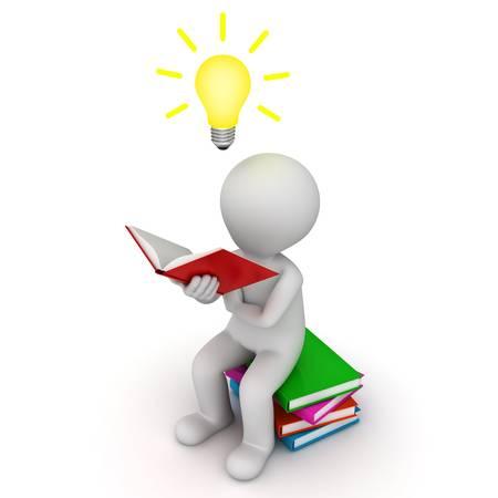 3D Mann sitzen und lesen Buch mit Idee Glühbirne auf weißem Hintergrund Standard-Bild