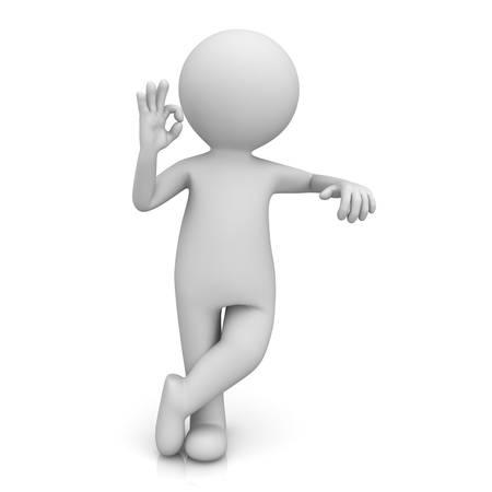 3d 남자는 무언가에 기대어 흰색 배경 위에 절연 괜찮 손 제스처를 보여주는