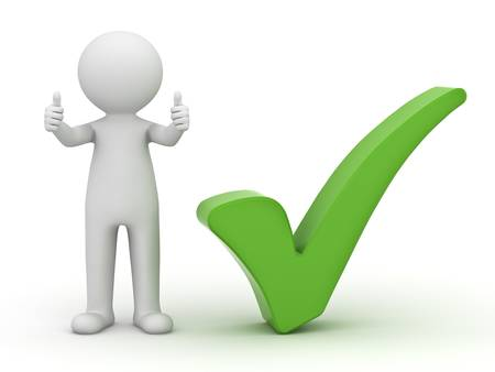 3d man showing thumbs up with green check mark on white background photo