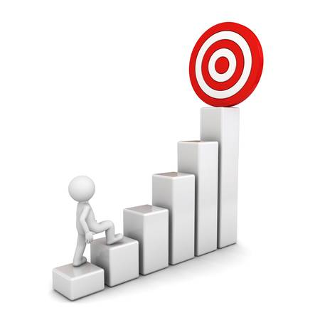 3d man intensivering van zijn succesvolle doel op de top van het bedrijfsleven grafiek geïsoleerd over witte achtergrond Stockfoto