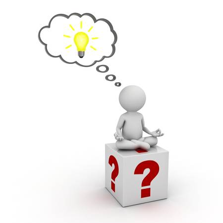 3d man sitting on question marks box and thinking with idea bulb in thought bubble above his head isolated over white background photo