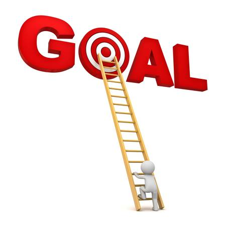 3D man het beklimmen van de ladder naar de rode doelgroep in woord doel geïsoleerd op witte achtergrond, Business concept