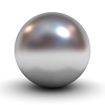 esfera: Cromo metálico esfera sobre fondo blanco Foto de archivo