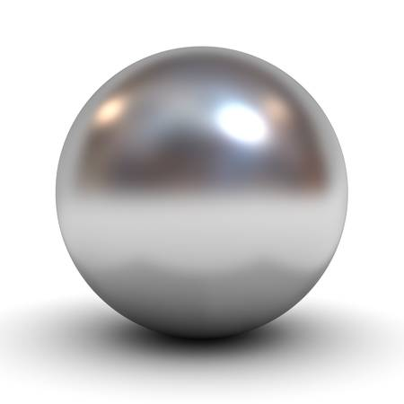 Metallic chrome sphere over white background