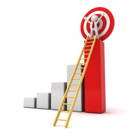3d man standing with arms wide open on top of growth business red bar graph with wood ladder isolated over white background, business concept photo