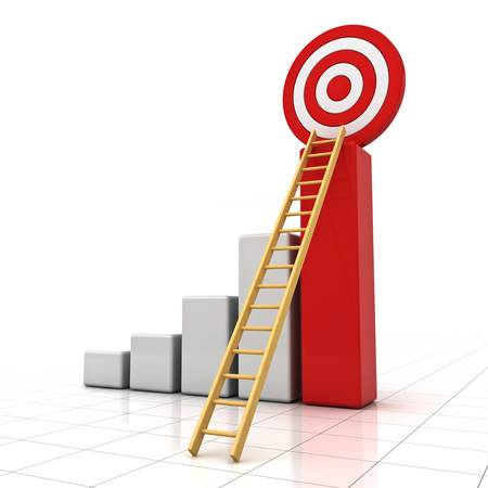 shortcut: Business target concept , 3d business graph with wood ladder to the red target isolated over white background with reflection