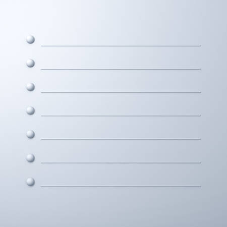 Blank 3d list paper note on white background with shadow Stock Photo - 23041999