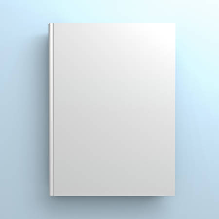 blank book cover: Blank book cover on blue background Stock Photo