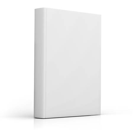 Blank book cover over white background with reflection photo