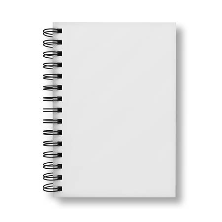 Blank notebook hoes die over witte achtergrond Stockfoto