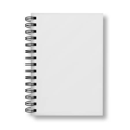 Couverture de cahier vierge isolé sur fond blanc