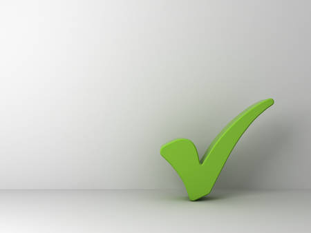 Green check mark on empty white wall background Stock Photo - 23042009