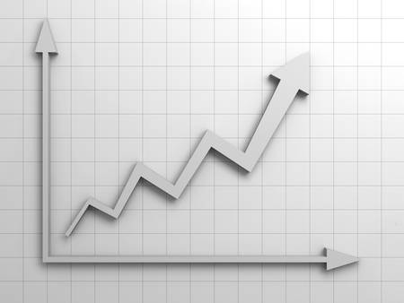 calculation: Arrow graph successful business concept Stock Photo