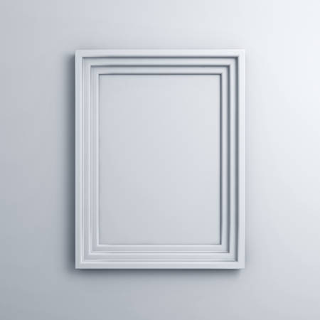 white: Blank frame on a white wall background with shadow