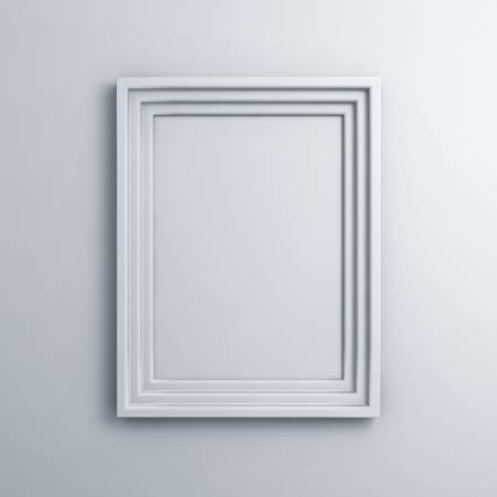 Marco en blanco en una pared de fondo blanco con la sombra Foto de archivo - 23042017