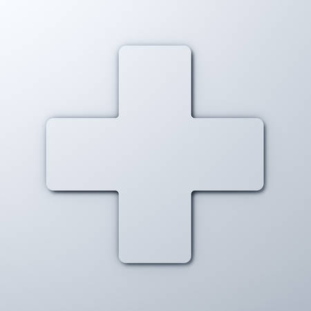 first aid kit: White plus sign on white background with shadow