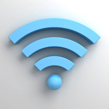 Blue wifi symbol or wireless sign on white background photo
